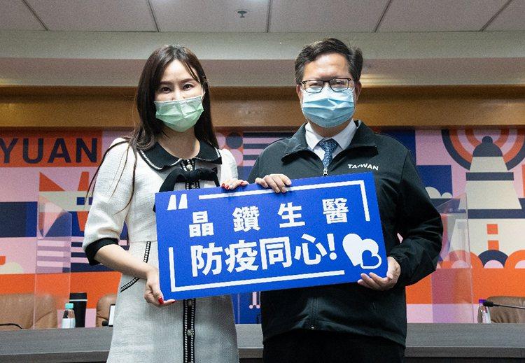 ▲晶鑽生醫董事長賴柏如(左)、桃園市長鄭文燦(右)
