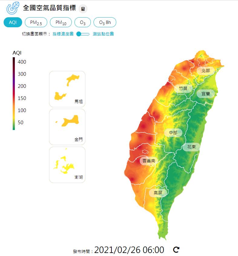 根據環保署空氣品質監測網顯示,今天上午6時西半部各地普遍空氣品質不佳。圖/取自環保署空氣品質監測網