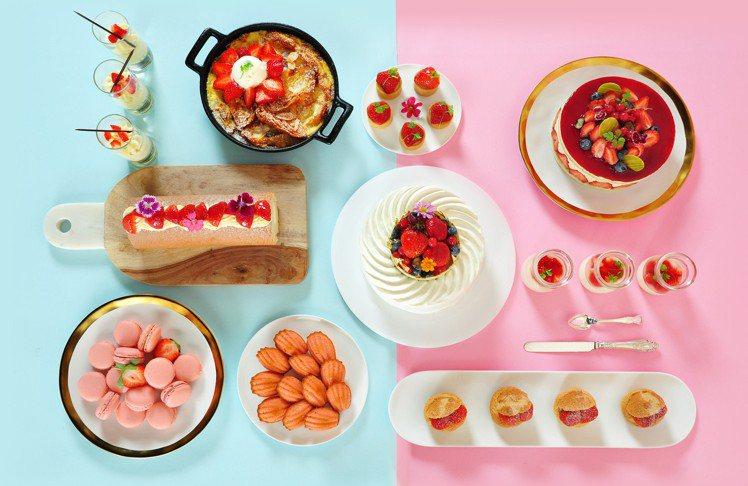 台北凱撒Checkers自助餐廳誘人的草莓系列甜點。圖/台北凱撒提供