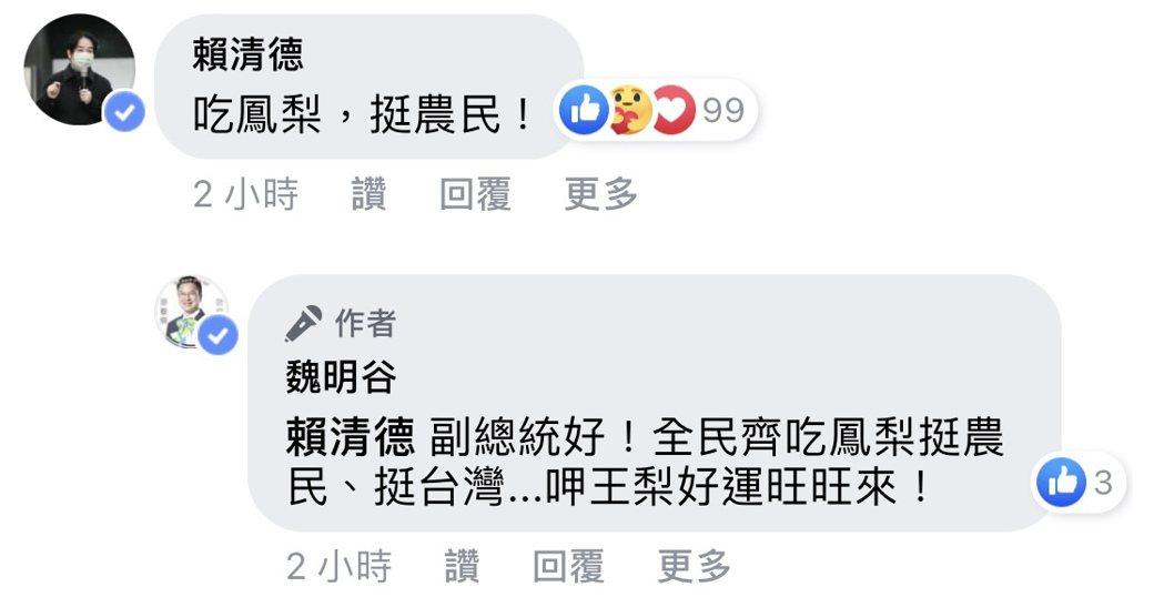 前彰化縣長魏明谷也在臉書呼籲大家多吃鳳梨挺台灣,副總統賴清德還立即留言讚聲「吃鳳...