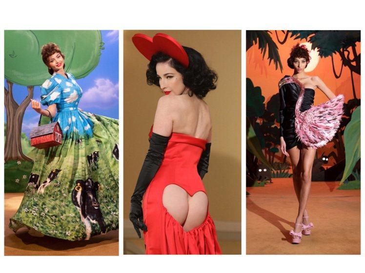 MOSCHINO以「Jungle Red」為主題發表2021秋冬女裝。圖/MOS...