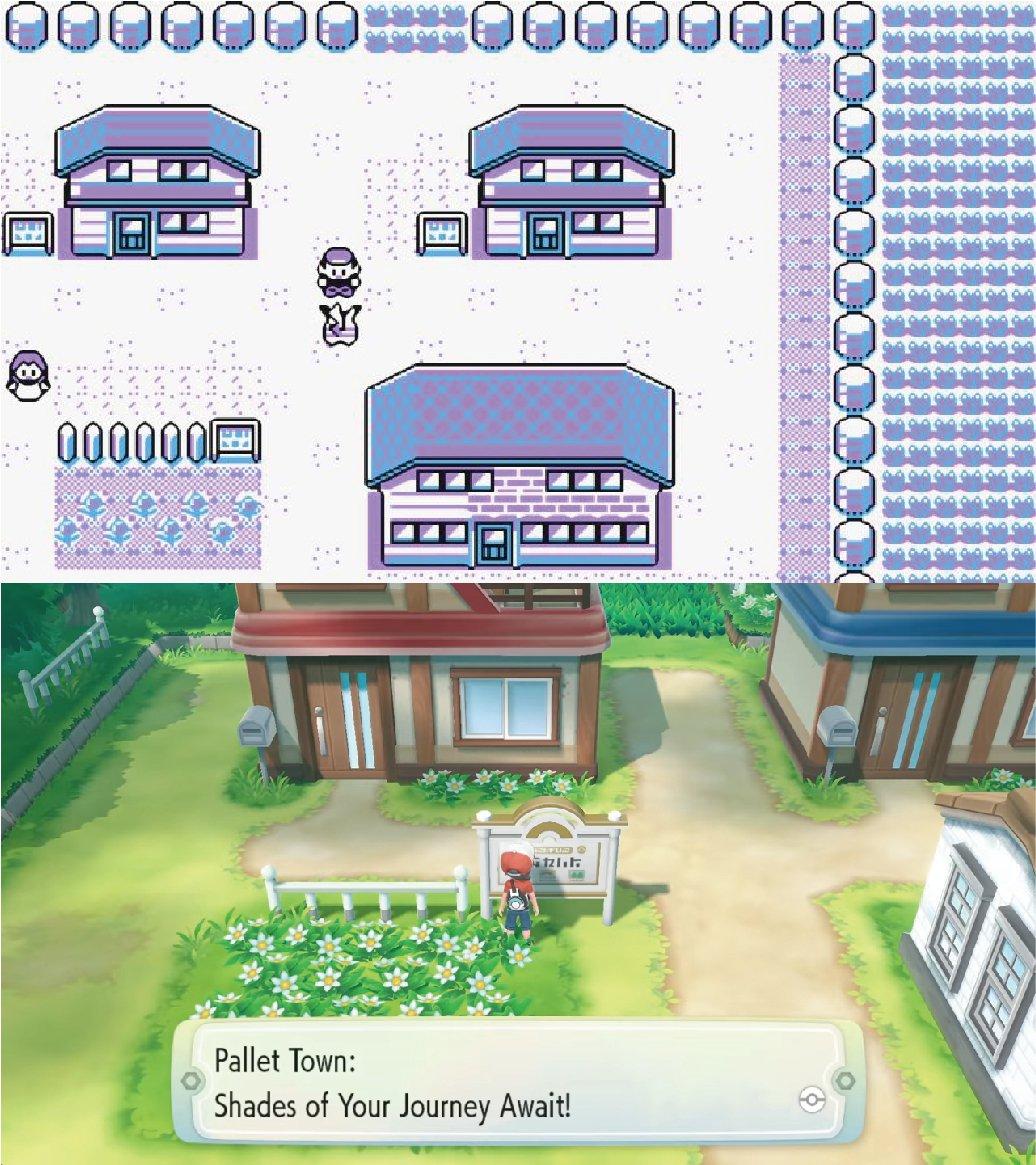 《寶可夢 皮卡丘》原版(上圖)與《Let's Go!皮卡丘/伊布》真新鎮遊戲畫面...