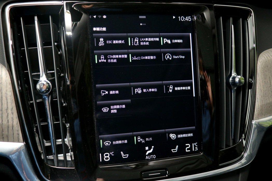 將諸多主動安全科技整合在中控螢幕裡。 記者陳威任/攝影