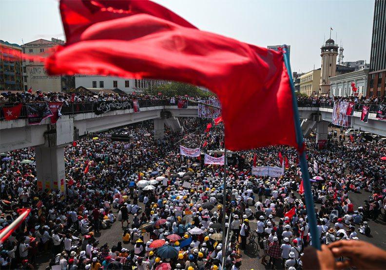 圖/2月22日緬甸的「春季革命」。 達志影像