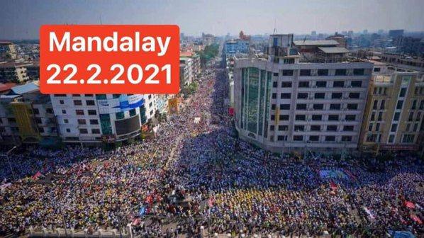 圖/22222春季革命──緬甸第二大城市曼德勒。 緬甸華僑提供