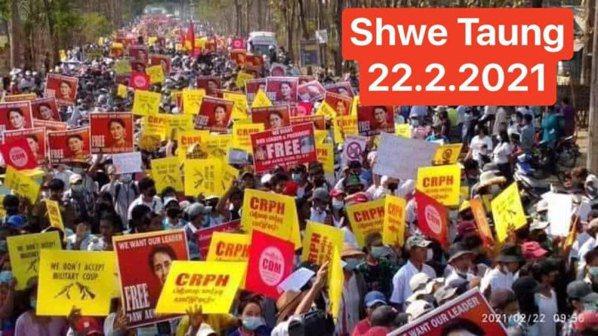 圖/22222春季革命──緬甸伊洛瓦底省(Shwe Taung)。 緬甸華僑提供