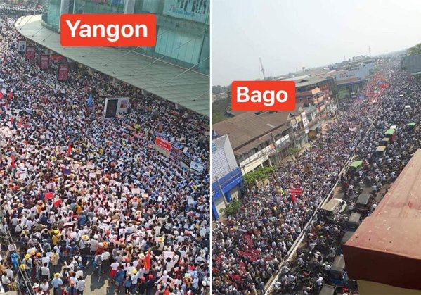 圖/緬甸首都仰光(左)與勃固(右)的民眾抗議畫面。 緬甸華僑提供