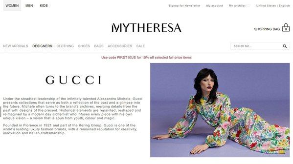 古馳在來自德國的Mytheresa線上商城網頁。 圖片來源:Mytheresa