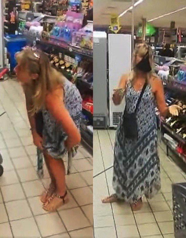 南非一名女子日前在超市因未戴口罩被警衛勸說,一氣之下就脫下長裙裡的丁字褲並把它套...