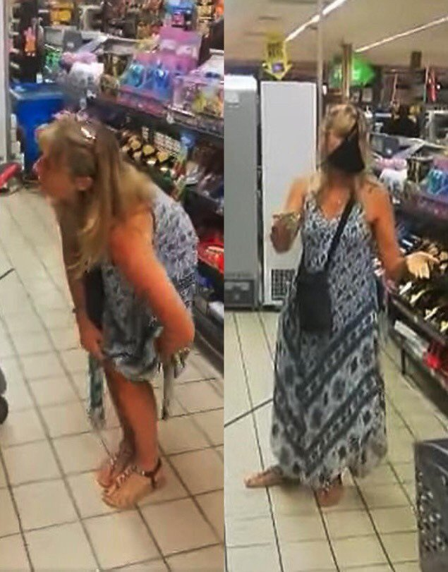 南非一名女子日前在超市因未戴口罩被警衛勸說,一氣之下就脫下長裙裡的丁字褲並把它套在臉上。截自YouYube