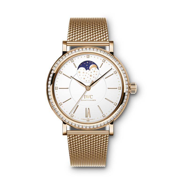 IWC PORTOFINO系列玫瑰金月相腕表,37毫米、玫瑰金、時間顯示,約12...