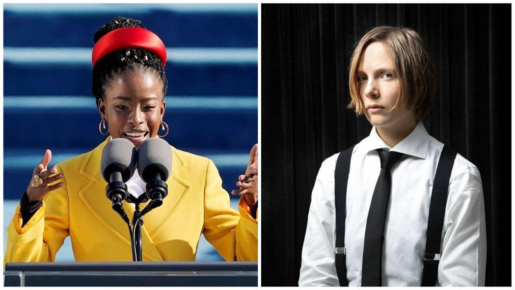 美國總統拜登1月20日就職時,年僅22歲的非裔女詩人高爾曼(左)因朗誦自創詩作而...