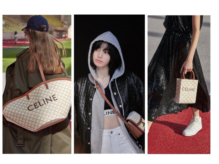 CELINE推出Triomphe Canvas白色帆布包款系列。圖/CELINE...