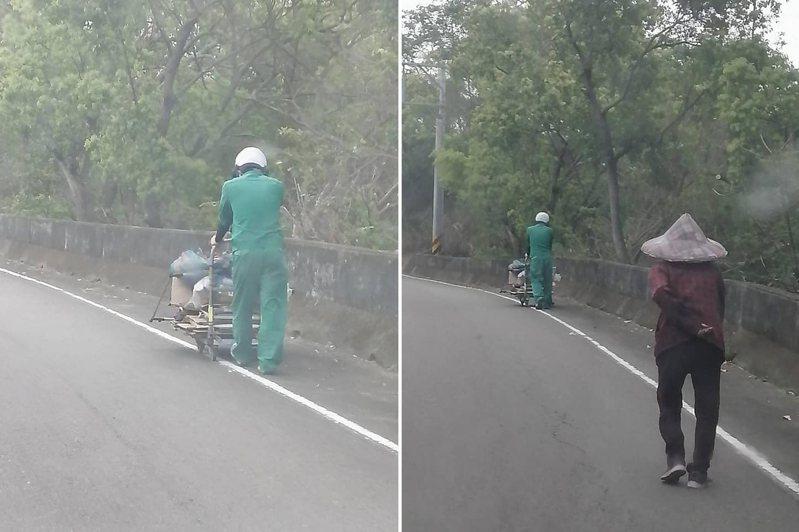 有網友在一處上坡路段,看到一名郵差停下車來回頭幫老婆婆推推車,這一幕讓他看了很感動。 圖/翻攝自臉書「郵局郵政全民開講」