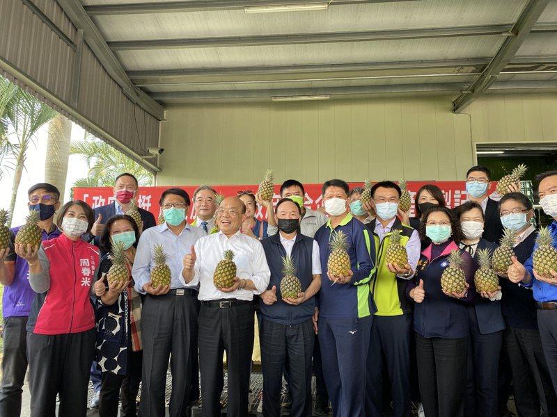 行政院長蘇貞昌今天到屏東縣挺鳳梨農,他表示政府要成立農產品國家隊來打開通路,當時農委會主委陳吉仲就站他左邊第三位。記者劉星君/攝影