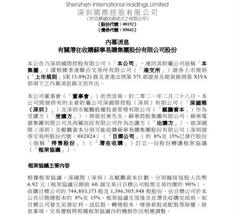 深圳國際在港交所公告。圖/取自港交所