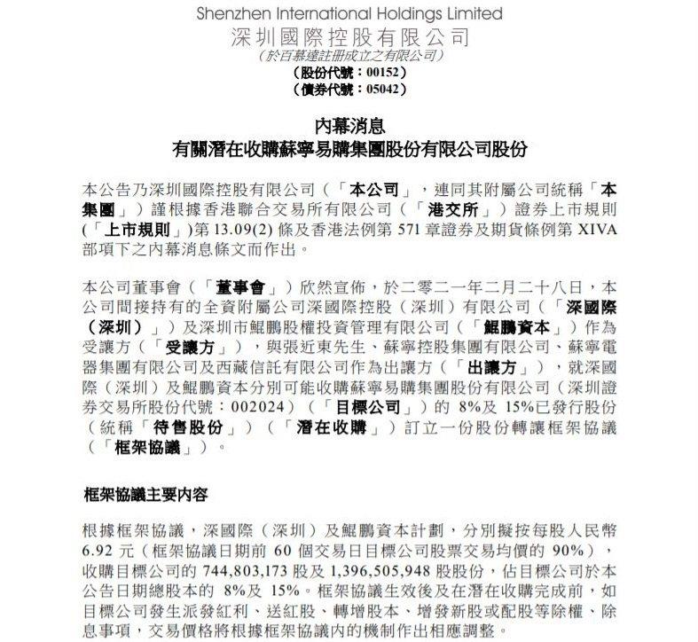 深圳國際在港交所公告。公告截圖