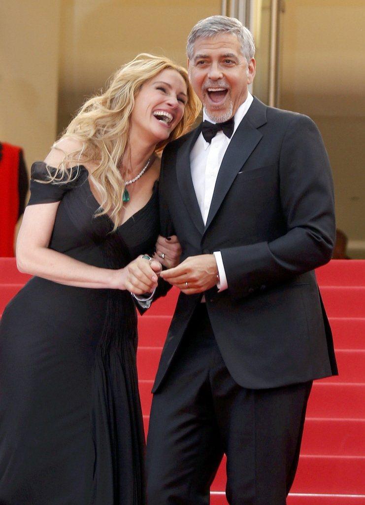 喬治柯隆尼(右)與茱莉亞羅勃茲又要再度攜手拍片。圖/路透資料照片