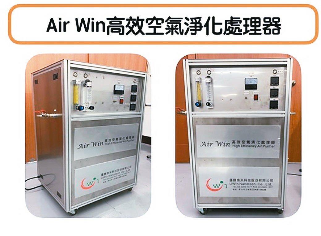 優勝奈米科技研發的Air Win高效空氣淨化處理器。優勝奈米科技/提供