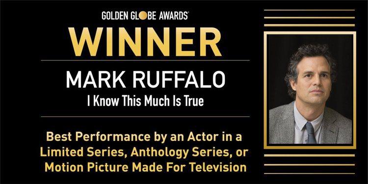 馬克魯法洛以「他是我兄弟」獲得金球獎最佳迷你影集或電視電影男主角。 圖/擷自金球...