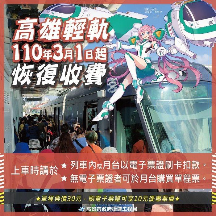 高雄輕軌捷運大南環路段自3月1日起開始正式收費。 高雄市捷運工程局/提供