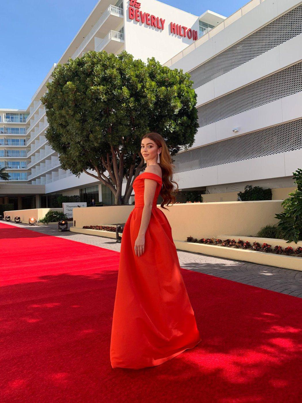 美國女星莎拉海蘭。 圖/擷自金球獎官方推特