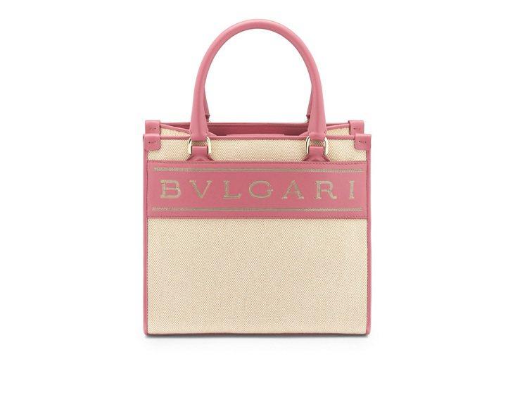 BVLGARI粉紅石英粉色帆布托特包,約93,000元。圖/寶格麗提供