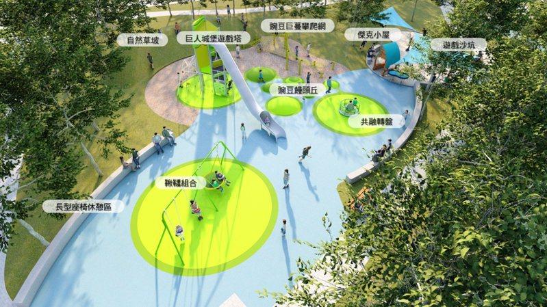 竹北高鐵都市計畫區高鐵公7特色公園,將童話故事「傑克與魔豆」中適合攀爬的藤蔓作為整體規畫構想。圖/新竹縣政府提供