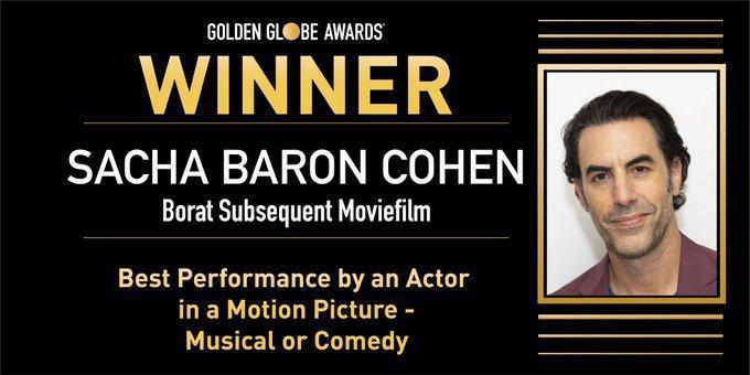 薩夏拜倫柯恩以「芭樂特電影續集」獲獎。圖/摘自金球獎推特