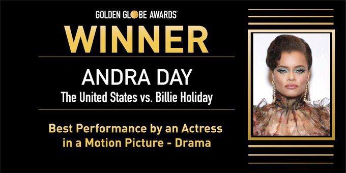 金球獎「劇情類最佳女主角」由安德拉黛封后。圖/摘自金球獎的推特