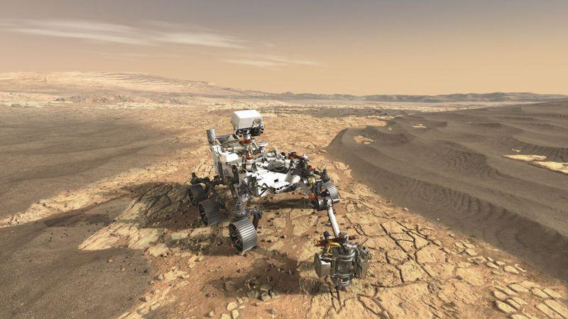 美國火星探測器毅力號上月18日成功登陸火星。圖為模擬圖。圖/取自NASA官網