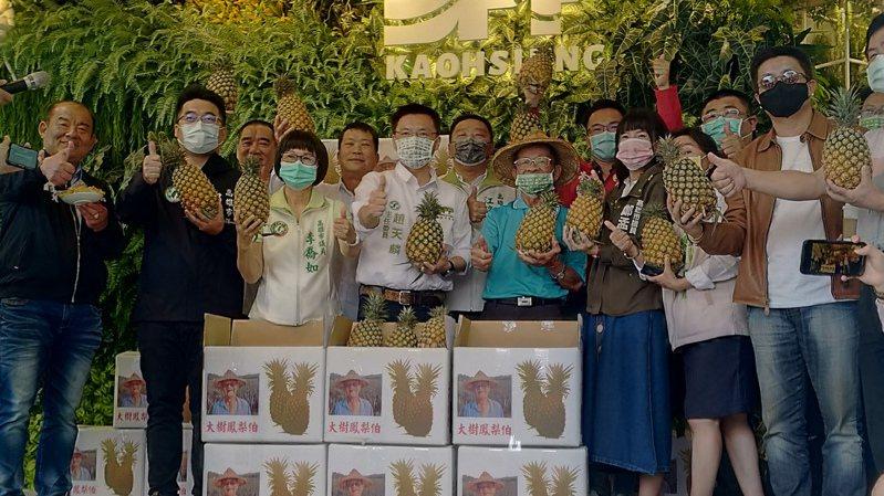 民進黨高雄市黨部今宣布採購5000台斤鳳梨,用實際行動力挺農民。記者蔡孟妤/攝影