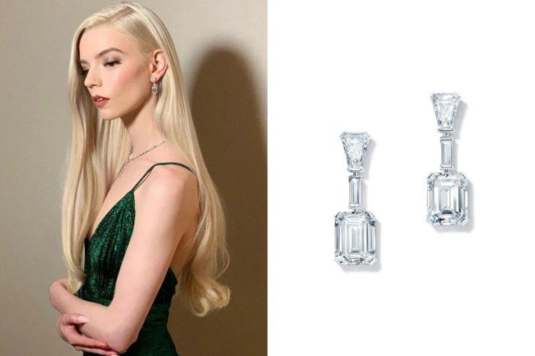 好萊塢女星安雅泰勒喬伊配戴Tiffany高級珠寶登金球獎。圖/取自IG @tif...