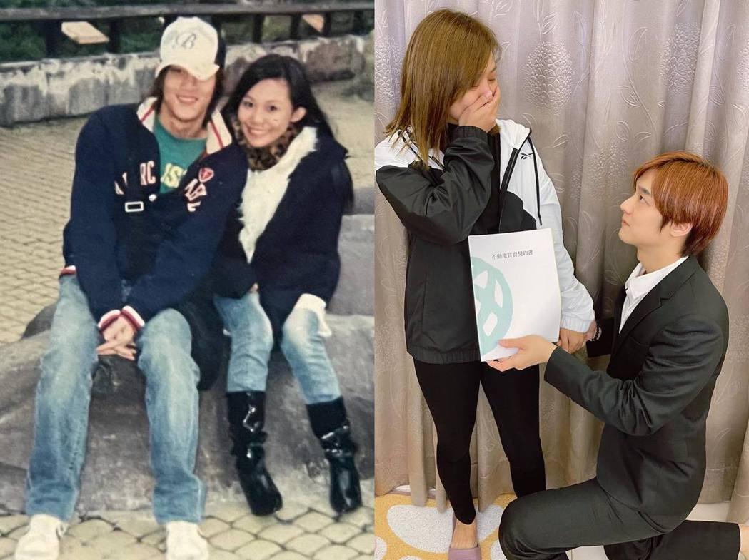 京燁PO文中附上17年前去動物園約會的照片(左),自嘲選動物園是因為門票很便宜。...