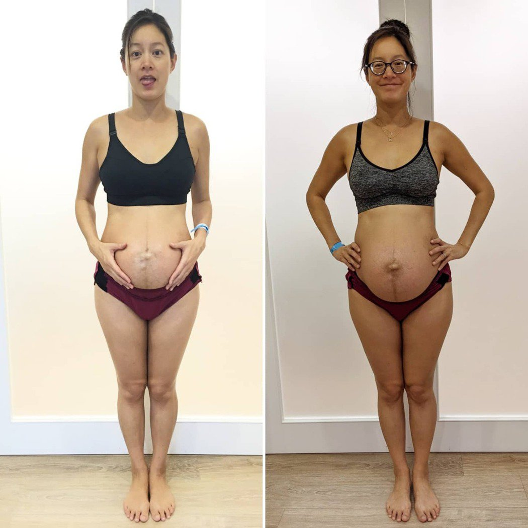 Janet秀出生完第一胎與第二胎時產後身材。 圖/擷自Janet臉書