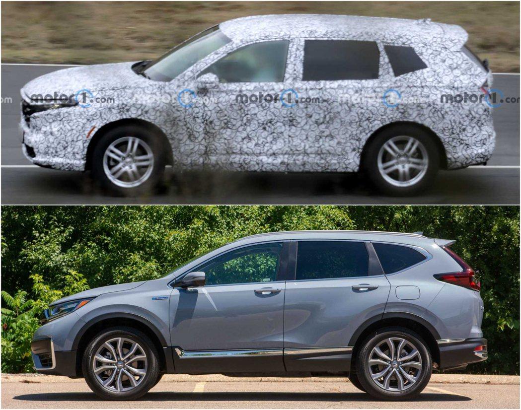 圖上:新一代CR-V偽裝車,圖下:現行款CR-V。 摘自Motor1