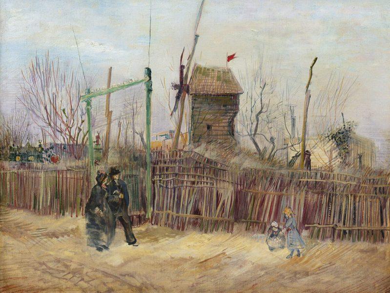 梵谷「蒙馬特街景(兩兄弟小路盡頭與胡椒磨坊)」由單一家族珍藏一世紀後將於3月於巴黎蘇富比上拍,估價約1.67億元台幣(500萬歐元)起。圖/蘇富比提供