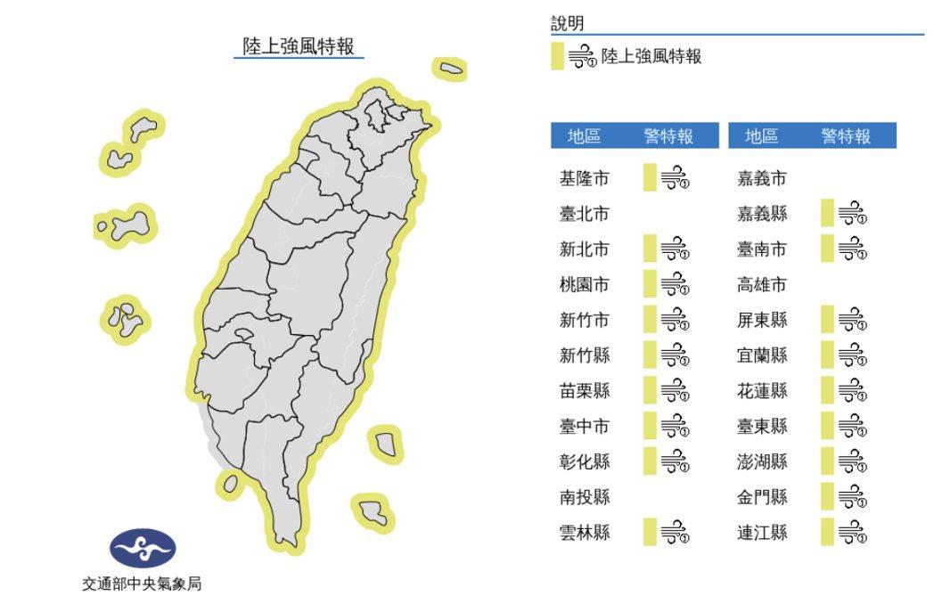 東北風增強,2日上午起台南以北、東半部(含蘭嶼、綠島)、恆春半島沿海空曠地區及澎...