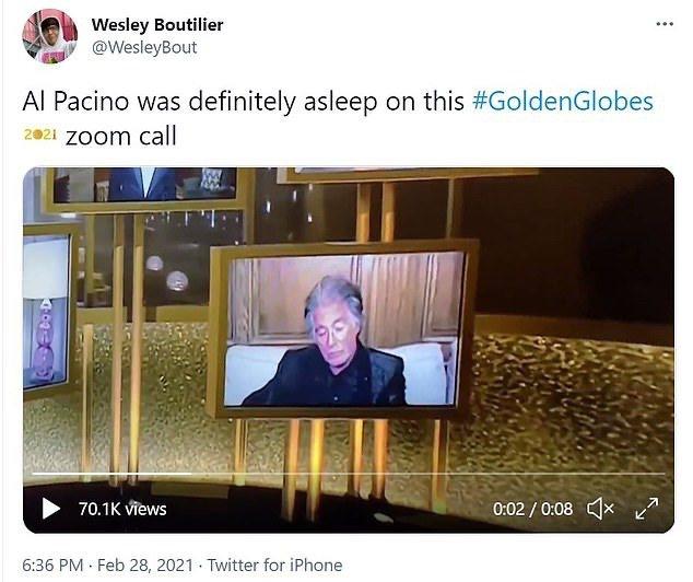 艾爾帕西諾被網友抓包偷打瞌睡。圖/摘自twitter