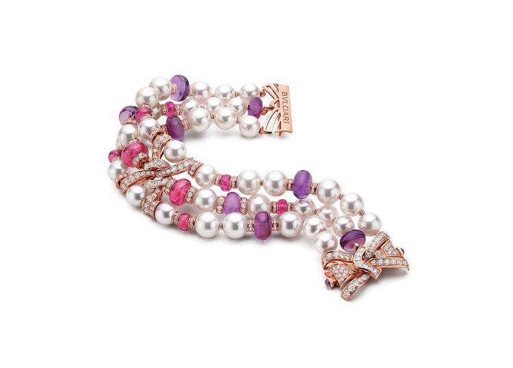 BVLGARI BAROCKO系列頂級紅碧璽、珍珠與鑽石手鍊,824萬3,000...