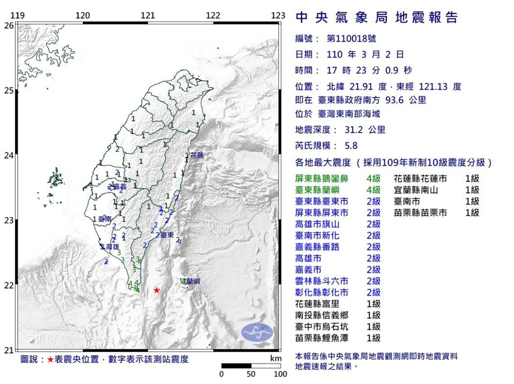 今天下午5點23分,台灣東南部海域發生規模5.8地震,高雄、屏東、台東都有感,屏...