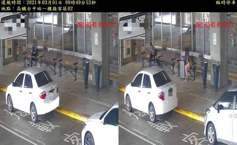 台中市警局在台中高鐵的旅客接送區,設置AI取締設備,開罰首日有385件違規停車。圖/台中市警局交通大隊提供