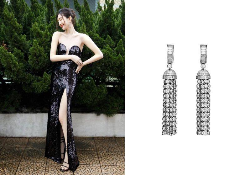 江疏影以白皙美腿襯黑色亮片禮服再搭配Boucheron珠寶耳環,美艷性感。圖/Boucheron提供(合成圖)