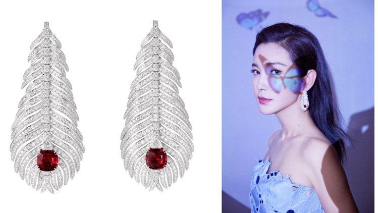 臉上有著巧妙蝴蝶剪影的李冰冰,耳畔的羽毛珠寶同樣傳遞了自然柔美意象。圖 / Bo...