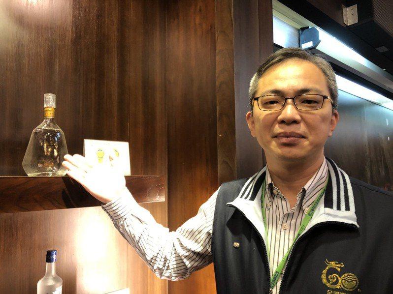金酒公司副總陳啟展說,這次調漲共28種品項,當中5年的陳高漲幅最高,幅度是15%。記者蔡家蓁/攝影