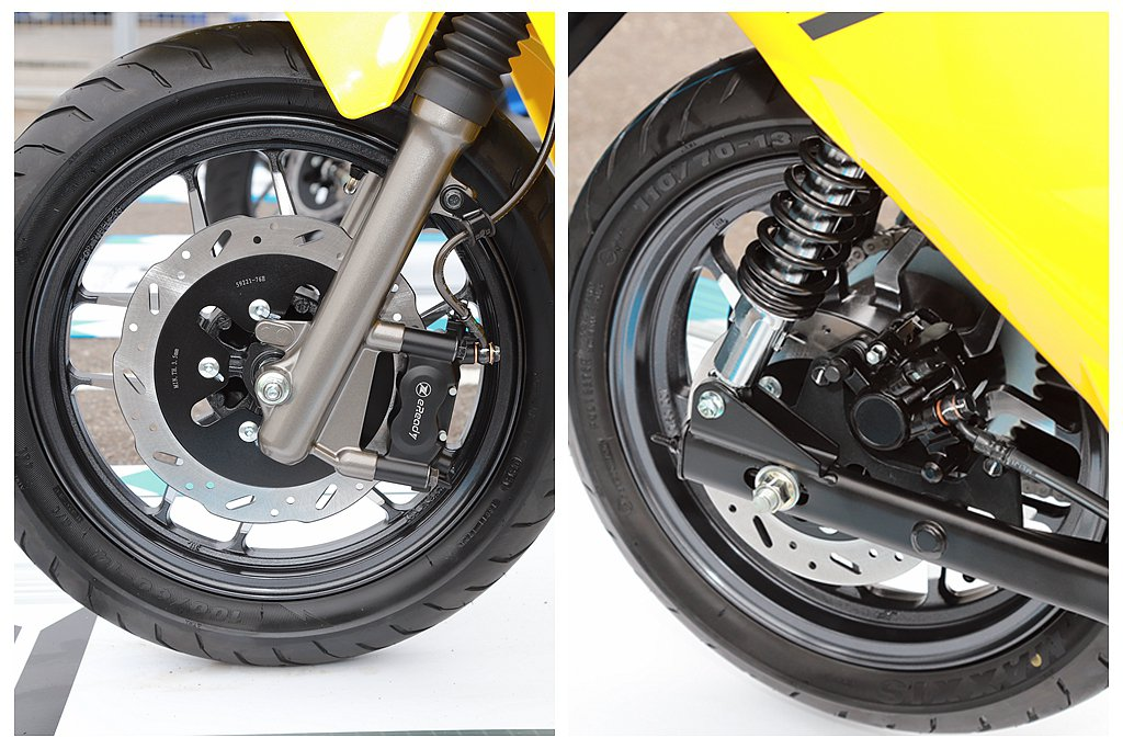 台鈴eReady Run前輪採用14吋鋁合金切削輪圈搭配245mm浪花碟盤與對向...