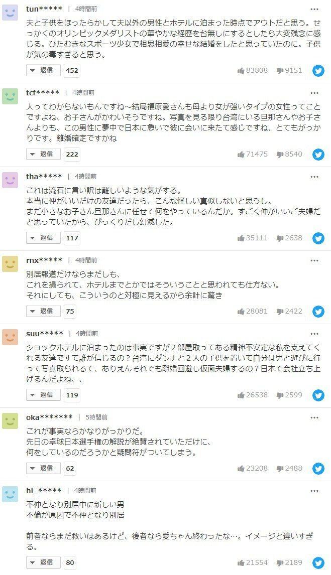 福原愛「不倫」日本報導下湧入網友留言。圖/擷自日本Yahoo