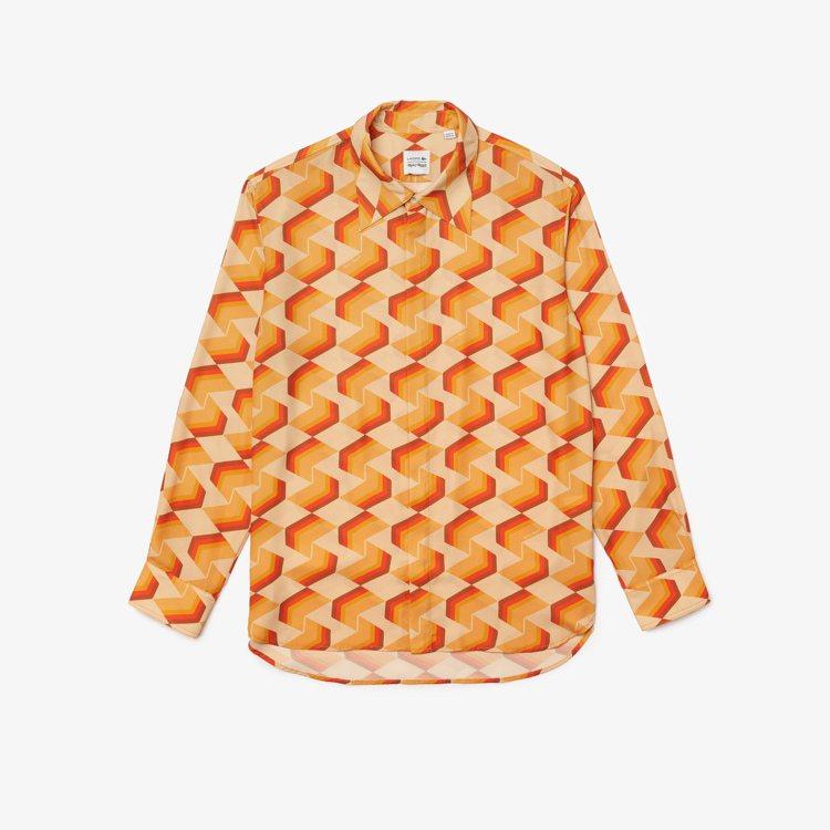 LACOSTE x RICKY REGAL色塊拼接長袖襯衫,7,880元。圖/L...