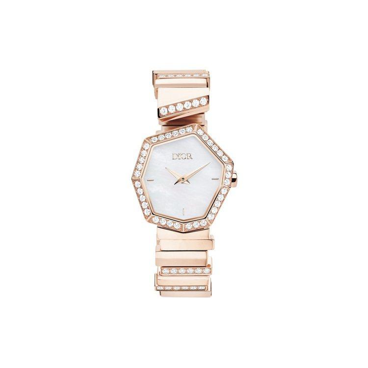 GEM DIOR玫瑰金鑽石與白色珍珠母貝表盤腕表,140萬元。圖/DIOR提供