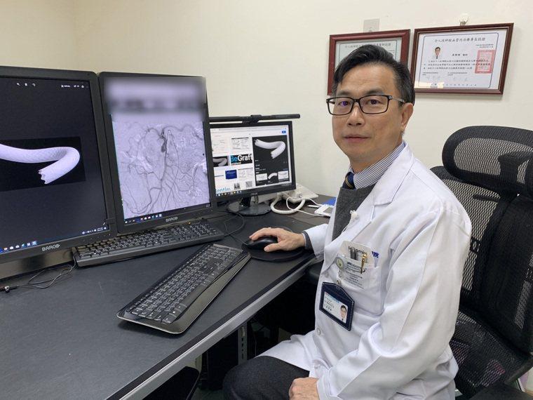 光田綜合醫院副院長嚴寶勝表示,患者因「上腸繫膜動脈剝離性動脈瘤」引發腸動脈供血受...